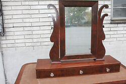 Antique Empire Mahogany Shaving Mirror And 3 Drawers For Dresser Or Vanity C 1840