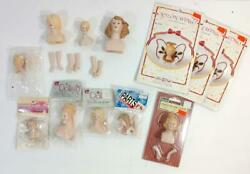 Lot Of Porcelain Doll Parts 9 Heads 6 Hands 3 Sets Of Wings