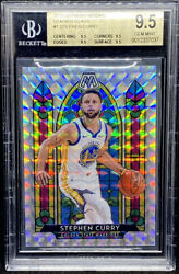 Stephen Curry 2019-20 Panini Mosaic Stained Glass Golden State True Gem Bgs 9.5