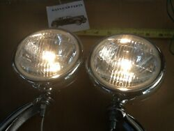New Clear Lens 6 Volt Small Vintage Style Fog Lights With Chrome Brackets