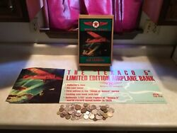Wings Of Texaco 1929 Lockheed Air Express Plane Bank And Ad Sign And 1 World Coin