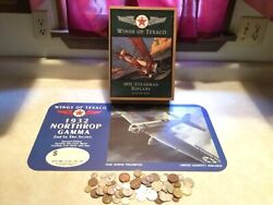 Wings Of Texaco 1931 Stearman Biplane Bank 2nd And Ad Sign And 1 World Coin Lot