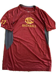 Usc Trojans Nike Baseball Team Issued Shirt 17 Pro Combat Fitted