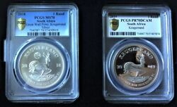 2x Krugerrand Set - 2018 China Sa Great Wall Privy Mark And 2019 70dcam Proof