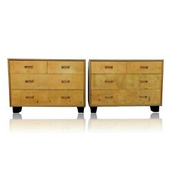 Pair Henredon Scene Two Olive Burl Wood Bachelor Chests Dressers Baughman Style