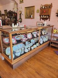 Antique Oak And Glass Clothing Store Showcase 8' W X 42 T X 26 D