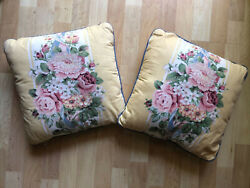 Pair Vtg Croscill Princess 14 Square Bed Toss Pillows Yellow Blue Flowers Pearl