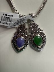 """Bali Legacy 20"""" Borobudur Necklace Green And Purple Jade Pendants Sterling Silver"""
