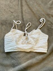 Urban Outfitters Crop Top Blue And White Stripes Tie Front Extra Small Women's $12.00