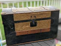Vintage Antique Steamer Style Trunk Chest -wood / Brass / Metal Inlay- Dome Top
