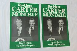 Lot Of 2 1980 Jimmy Carter-walter Mondale For President Photo Poster Board 13x20