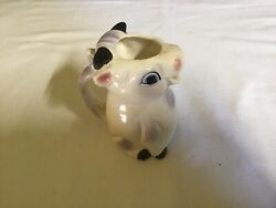 Vintage Cow Creamer Porcelain W Horns Big Eyes And Pink And Purple