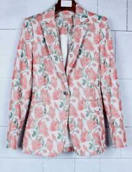 Dreamy Alice + Olivia Macey Embroidered Strong Shoulder Blazer Size 0,2,10,12