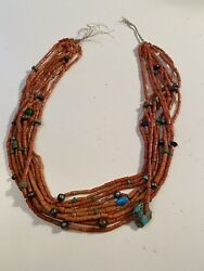 Vintage Native American Sterling Silver Bead Natural Coral 10 Strand Necklace