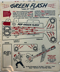 """Vintage 1948 Kellogg's Cereal Pep Turbo Jet Plane Cut Out """"green Flash"""""""