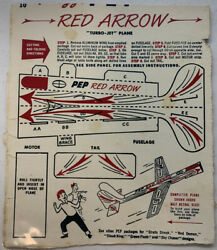 """Vintage 1948 Kellogg's Cereal Pep Turbo Jet Plane Cut Out """"red Arrow"""""""