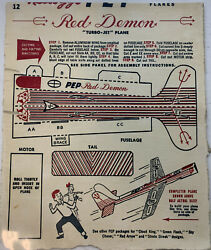 """Vintage 1948 Kellogg's Cereal Pep Turbo Jet Plane Cut Out """"red Demon"""""""