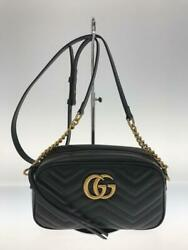 Chain Gg Marmont Leather Blk Leather Black Shoulder Bag From Japan