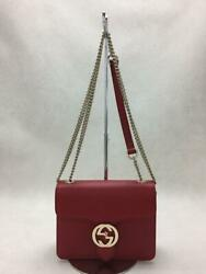Leather Interlocking G Chain Leather Red Shoulder Bag From Japan