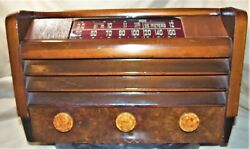 Vintage 1946 Rca 56x5 Vacuum Tube Radio Am And Sw W Wooden Case Working Vg Cond