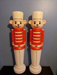 1994 Union Bear Toy Soldier Blow Mold Pair