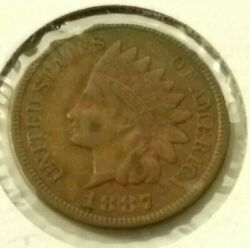 1887 Indian Head Penny One Cent Xf -l29