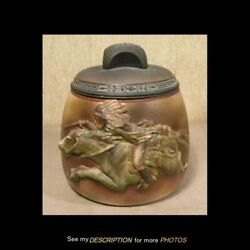 Scarce Antique Porcelain Hand Painted Nippon Tobacco Jar Humidor Indian On Horse