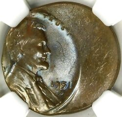 😎😱❤️❤️🤪ngc Ms64 Bn Lincoln Cent 1951 D/d And 30 Off Center