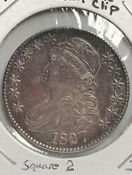Half Dollars Capped Bust, Lettered Edge 1827 Error Coin Incomplete Clip