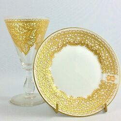 Antique Murano Venetian Salviati Goblet Glass And Plate Enameled Gold Lace Ornate
