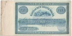 New Zealand Bank Of Nsw 18701890 5 Pound Unissued Specimen Note Pick Ps147 A