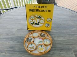 Vintage 7-pc Bamboo Wicker Serving Tray Woven Coasters Butterfly Tiki Bar 1970s