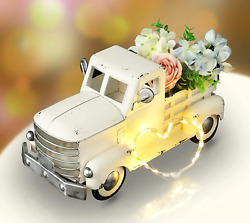 Pylemon Farmhouse Truck Spring Decorations Vintage Metal Truck With Flowers S