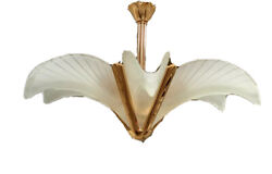 Vintage Art Deco Brass Slip Shade Murano Palm Frond Feather Chandelier Italy A