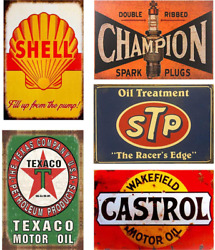 Flowerbeads Retro Tin Signs Vintage Signs Auto Motorcycle Gasoline Garage Home W