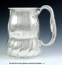 Antique 1887 Aesthetic Movement Hand Hammered Large Sterling Silver Cup Mug