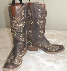 Circle G Boots Brown Leather Dragon Fly Embroidery Size 8 M Factory Distressed
