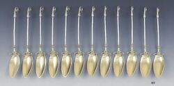 12 Antique Aesthetic Movement Leaf Gold Wash Sterling Silvers Gorham Spoons
