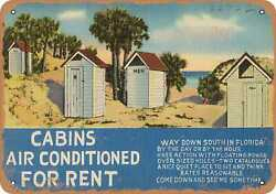 Metal Sign - Florida Postcard - Cabins Air Conditioned For Rent