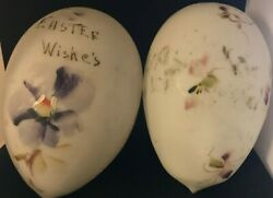 Two Milk Glass Eggs With Hand Painted Flowers. Each Is 6 Long.