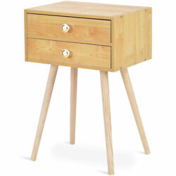 Mid Century Modern 2 Drawers Nightstand Natural Sofa Side End Table Home