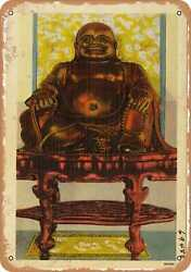 Metal Sign - New York Postcard - Bronze Laughing Buddha Owned By Savoy Inn