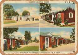 Metal Sign - Tennessee Postcard - Heltonand039s Motor Court 4 Miles South Of Chatta