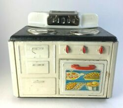 Vintage Mfz Toy Metal Stove Germany Lithographed Food On Oven Door