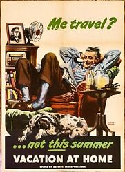 Original Wwii 1945 Home Front Poster Me Travel Not This Summer Vacation At Home