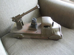 Vintage Antique Rare 1930s - 50s Marx Toys Pressed Steel Army Aa Cannon Truck