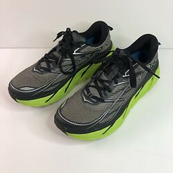 Hoka One One Mens Clifton 3 1012046 Gray Green Cushioned Running Shoes Size 9