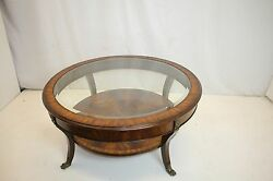 Regency Flame Mahogany Coffee Table With Glass Top Insert And Shelf