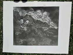 Exceptional Signed Mid Century Modern Surreal Linocut Artist Proof 1979