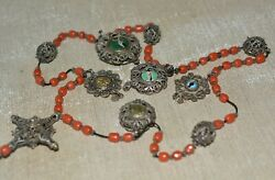 Antique German Catholic Rosary Red Coral Beads Sterling Silver Enameled Cross
